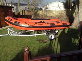 XS Rib boat, 15hp Yamaha four stroke Engine with Snipe trailer. Ex Rescue Boat