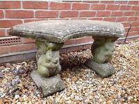 Rustic stone garden seat bench