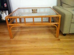 Bamboo and glass coffee table - $50 if you pick it up by Sunday!