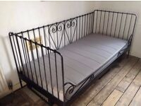 black metal ikea day bed and ikea sultan mattress. Excellent condition. CAN DELIVER