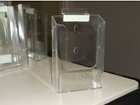 Leaflet Display Holders,, freestanding or can be wall mounted, clean, clear perspex