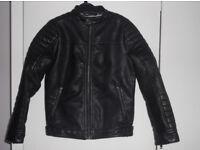 Boy's black faux leather jacket - Next - age 8/128 cm. Biker style. Excellent condition.