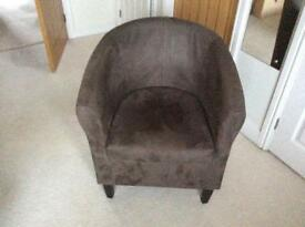 Brown suede tub chair