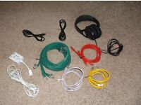 Multiple Ethernet Cables, ADSL Filter and Headphone Cables