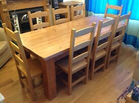 Solid pine country farmhouse table and 8 chairs