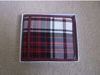 Hart England Est. 2011 Red White and Blue Tartan Wallet in Maroon Leather - NEW