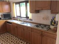 Solid oak ALNO Kitchen FOR SALE. Includes carcass and door fronts, along with integrated gas hob