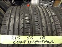matchin set of 215 55 18 continentals ONLY DUN 500MILES £120 for set of 4 supp & fittd OPEN 7-DAYS