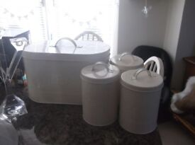 Cream Bread Bin and Cannisters