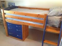 2 in 1 Cabin/mid sleeper bed with matching drawers