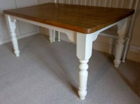 Solid vintage pine kitchen table. Painted in Farrow and Ball 'Lime White'