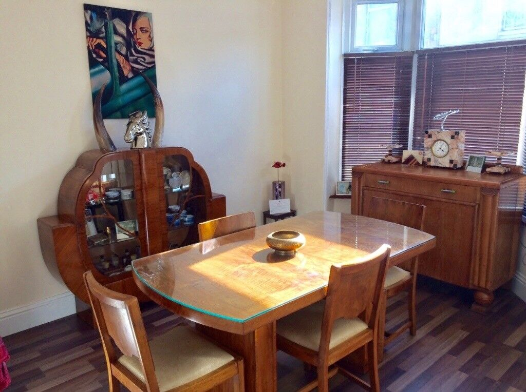 Art Deco Dining Table, Cabinet & Side Board