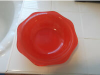 red pyrex dish