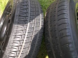 SET 2 , V W GOLF MK4 STEEL WHEELS , C/W 175 X 80 X 14 TYRES , BOTH EXCEL , I TYRE NEW