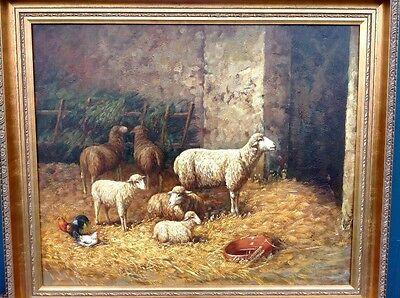 Ölbild auf Leinen Schafe sign. Holzrahmen 50 x 60
