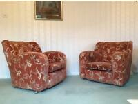 Genuine 1930's Art Deco style 3 piece suite, sofa and two armchairs in good condition.