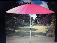 Pagoda 2.7m Shanghai Parasol Cerise/Pink with crank and tilt New in box.