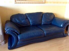 Navy leather Italian 3 seater and 2 seater suite