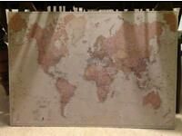 World map pin board mounted