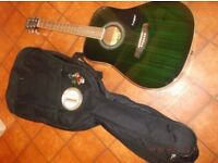 Guitar, acoustic, Westfield, with gig bag, green, dreadnought