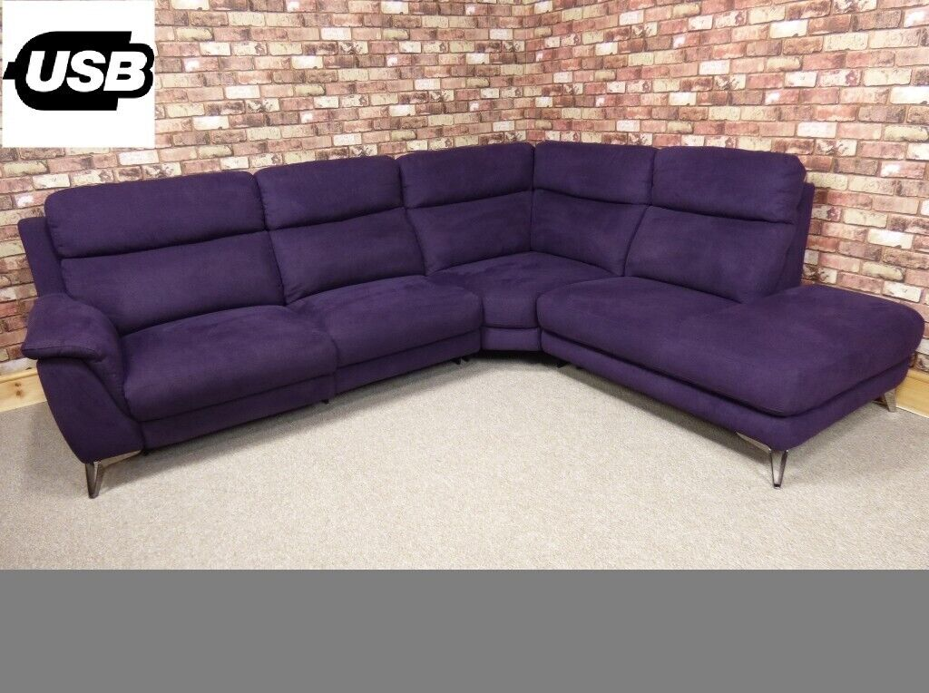 \'CONTEMPO\' 3 PIECE CORNER GROUP CHAISE END POWER RECLINER IN PURPLE FABRIC  SOFA SET | in Romford, London | Gumtree