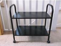 FREE! Black Wooden Mobile Storage Trolley/Two Shelf Storage Unit on Wheels