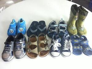 Lot 8 pairs of boys boots, shoes and sandals size 7 child
