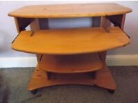 Pine Compter Desk - Two Movable Shelves - Easy Move - On Castors