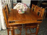 SHEESHAM HARDWOOD DINNING TABLE & 4 CHAIRS