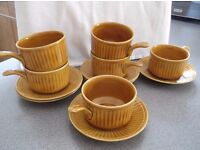 Six Soup Cups and Saucers