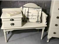 French cream gossip bench, telephone seat with pull out table & drawer