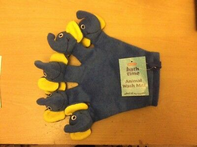 Animal wash mitt, a blue and yellow elephant, called Elsie!