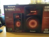 Numark , N Wave 580 L Desktop Dj monitors with beat sync d lights.