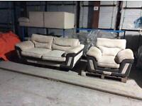 Beige and Brown Jumbo Cord 3 Seat Sofa and Chair - £100 Including Free Local Delivery