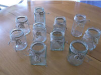 10 Decorated Jamjars, Various Shapes and Sizes, Wedding, Party, BBQ for Flowers or Tealights