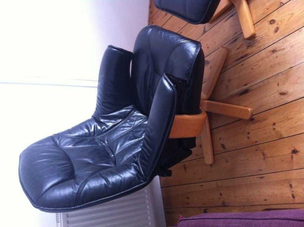 Leather Chair And Foot Stool In Ipswich Suffolk Gumtree