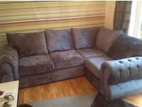 Offers welcome - Crushed velvet corner sofa perfect condition 1yr old