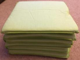 Six Green Padded Cushion Seat Pads