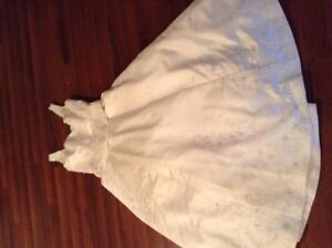 Beautiful wedding dress, train, and veil