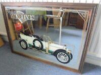 Large Vintage Mercedes Pub Mirror, Garage, Man Cave, 88cm x 62cm
