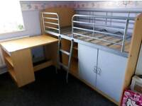 Single bunk bed with desk and storage