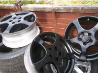 set 4 , v w , lkf 5 stud 5 x 100 pcd black alloy wheels , set 4 as pictures no tyres , £40