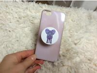 Purple case with elephant pop socket