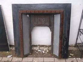OLD VICTORIAN CAST IRON TILED FIREPLACE