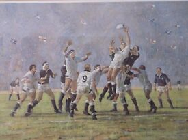CRAIG CAMBELL LTD HAND SIGNED PRINT SCOTLAND V ENGLAND RUGBY BAR PUB SPORTS SIGNED BY BOTH CAPTAINS