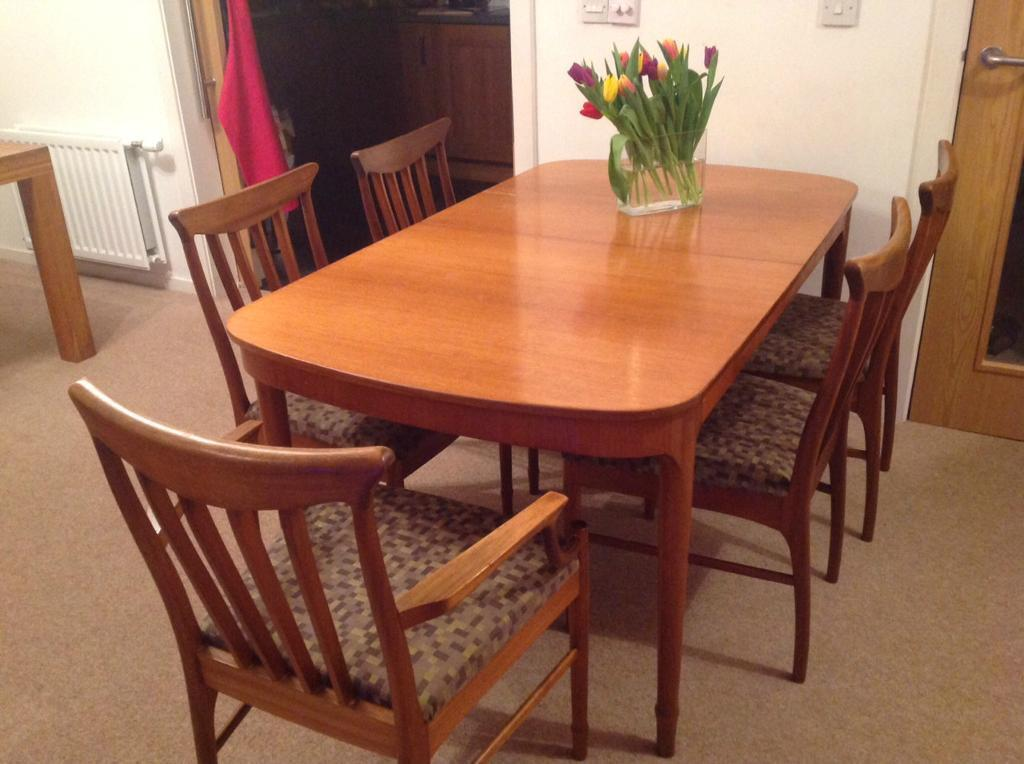 Teak dining table and 6 chairs purchase sale and exchange ads for Furniture queensferry