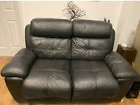 3 & 2 seater black leather electric recliner sofas & stool