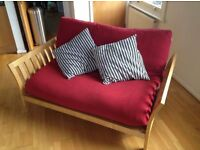 FUTON COMPANY FLARE Double Futon Sofa Bed & Extra Red Cover, Hardwood Base, Sofabed, + I CAN DELIVER