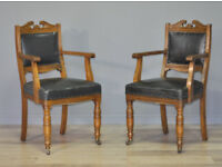 Attractive Pair Of Antique Victorian Carved Oak & Leather Hall Carver Arm Chairs