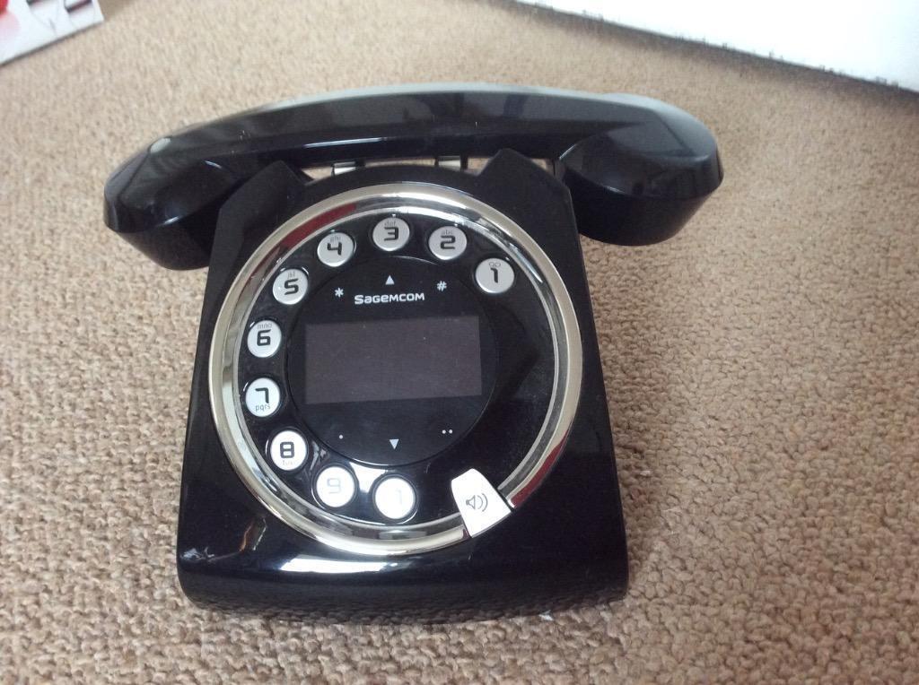 Sagemcom Sixty Retro Cordless Phone Sagemcom Sixty Black Cordless